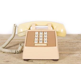Vintage Beige Phone / Retro Comdial Phone / Vintage Landline Phone / 70s 80s Retro Desk Phone / Touchtone Phone / Vintage Phone Prop