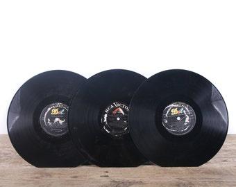 3 Vintage 33 1/3 Records / Black Vinyl Records / Antique Vinyl Records Decorations / Old Records / DOT RCA Victor / Retro Music Party Decor