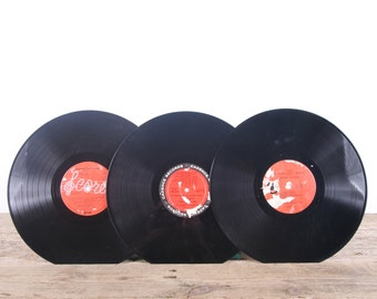 3 Vintage 33 1/3 Records / Red Vinyl Records / Antique Vinyl Records Decorations / Old Records Cadence Records / Retro Music Party Decor