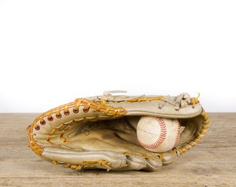 Antique RexSport Leather Baseball Glove / Old Vintage Leather Baseball Glove / Baseball Glove / Antique Baseball Glove / Baseball Room Decor