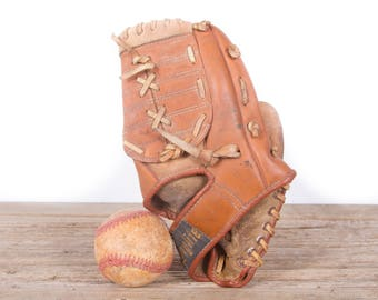 Old Vintage Leather Baseball Glove / Kids Lunglite YF201 Baseball Glove / Antique Baseball Glove / Old Glove Antique Mitt / Baseball Decor