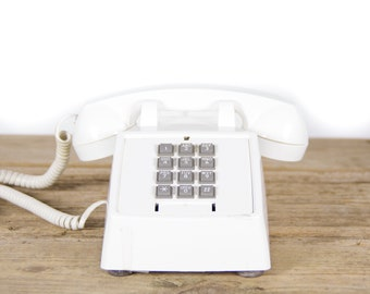 Vintage White Phone / 90's Retro Premier Phone / Vintage Landline Phone / 80s Retro Desk Phone / Touchtone Phone / Vintage Phone Prop