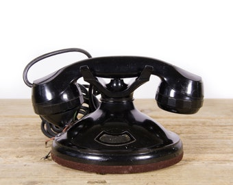 Antique Black Desk Phone / Unmarked Retro Black Phone / Vintage Landline Phone / Retro Desk Phone / Antique Phone