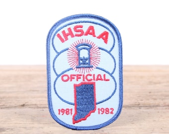 Vintage 1981-1982 IHSAA Patch / Indiana Official Patch / I.H.S.A.A. Certified Official Patch Referee/Umpire Indiana / Grunge Patch