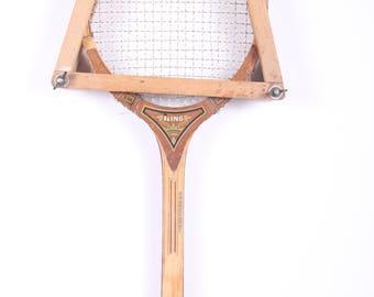 Vintage Wooden Tennis Racket / King Crest Wooden Tennis Racket / Retro Wood Tennis Racket / Old Antique Tennis Racket Sports Decor