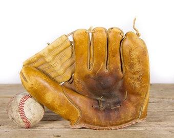 Antique Leather Baseball Glove / Wilson Baseball Glove / Old Baseball Mitt / Vintage Leather Baseball Glove / Baseball Room Sports Decor
