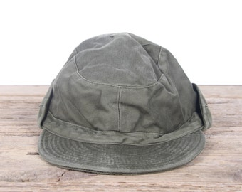 Vintage Military Cotton Field Hat / Small Army Cap / Green Retro Military Hat / Trapper Hat / Authentic Military Cap / Uniform 57