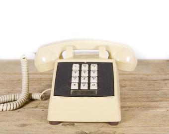 Vintage Beige Phone / Retro Comdial Phone / Vintage Landline Phone / 80s Retro Desk Phone / Touchtone Phone / Vintage Phone Prop
