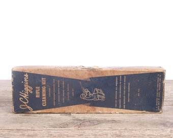 Vintage JC Higgins Rifle Cleaning Kit / Antique Gun Cleaning Kit / Hunting Decor / Camping Decorations / Old Fishing Decor / Outdoor Decor