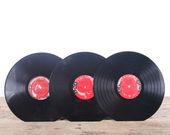 3 Vintage 33 1/3 Records / Black and Red Vinyl Records / Antique Vinyl Records Decorations / Old Records Columbia / Retro Music Party Decor