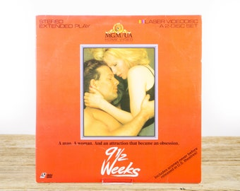 Vintage 1986 9 1/2 Weeks LaserDisc Movie / Vintage Laser Disc Movies / Movie Theater Decor / Movie Room Decor Movie Posters / 90s Decor