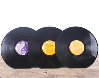 3 Vintage 33 1/3 Records / Colorful Vinyl Records / Antique Vinyl Records Decorations / Old Records RCA Records / Retro Music Party Decor
