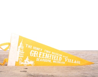 1950s Henry Ford Museum Greenfield Village / Vintage Felt Pennant / Pennant Banner / Pennant Flag / Automotive Pennant / Car Pennant Decor