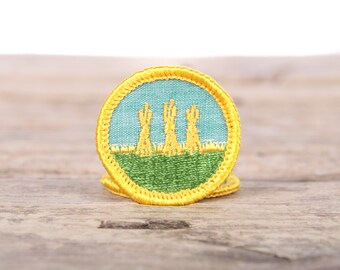 "Vintage Girl Scout Patch / 1970's Scout Patch / Outdoor Safety Badge / Farming Hay Stacks Patch / 1.5"" Girl Scouts Patch / Scout Badge"