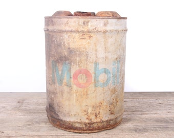 Antique Mobile Oil Can / 5 Gallon Vintage Oil Can / Antique Gas Can / Large Metal Oil Can / Old Oil Can Garage Decor /Automotive Collectible