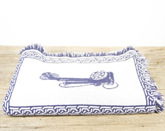 Vintage Telephone Blanket / Blue and White Phone Vintage Phone Afghan / Telephone Collectible Gift / Bell South Phone Blanket