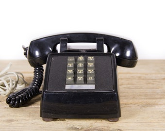 Vintage Black Phone / 70's Retro Stromberg Carlson Phone / Vintage Landline Phone / Retro Desk Phone / Touchtone Phone / Vintage Phone Prop