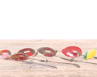 Vintage Spinner Fishing Lures / Dominion / Pflueger June Bug Metal Fishing Lure / Fishing Decor / Old Fishing Lure / Red Spinner Lure