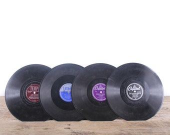 4 Vintage 78 Records / Colorful Vinyl Records / Antique Vinyl Records Decorations / Old Records / Capitol record / Retro Music Party Decor