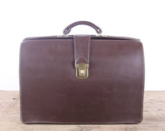 Vintage Leather Briefcase / Brown Brief Bag / Leather Briefcase / Antique Brown Leather Suitcase Luggage / Old Suitcase Vintage Luggage Bag