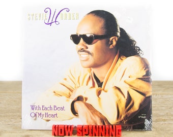 "Vintage Sealed Stevie Wonder ""With Each Beat of My Heart (1987) Vinyl 12"" Single Album LP / Antique 33 Vinyl Records / Rock Pop"