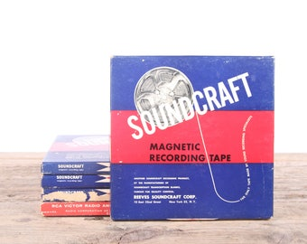 5 Vintage Reeves Soundcraft & RCA Sound Tape / Magnetic Recording Tape Reels With Boxes / Audio Recording Tape / Audiophile Gift Music Decor