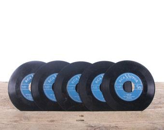 5 Vintage 45 Records / Blue Vinyl Records / Antique Vinyl Records Decorations / Old Records / RCA Victor record / Retro Music Party Decor