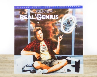 Vintage 1994 Real Genius Val Kilmer LaserDisc Movie / Vintage Laser Disc Movies / Movie Theater Decor / Movie Room Decor Movie Posters