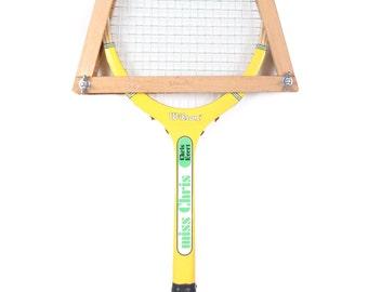 Vintage Wooden Tennis Racket / Yellow Spalding Chris Evert Tennis Racket / Yellow Wood Tennis Racket / Antique Tennis Racket / Sports Decor