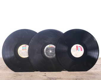 3 Vintage 33 1/3 Records / Colorful Vinyl Records / Antique Vinyl Records Decorations / Old Records Crown Records / Retro Music Party Decor