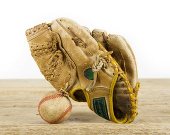 Vintage Ted Williams Baseball Glove / Sears Autograph Model 16182 Pro Style Pocket Baseball Glove / Antique Baseball Room Decor