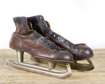 Vintage Leather Hockey Skates / Antique Hockey Skates / Black and Brown CCM Skates / Vintage Ice Skates / Vintage Hockey Decor Sport Decor