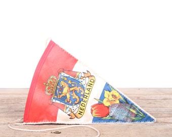 Vintage Nederland Pennant / Vintage Netherlands Pennant / Pennant Banner / Pennant Flag / Red White Blue Pennant / Antique Wall Decor