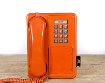 Vintage Orange Phone / 80's Retro Northern Telecom Phone / Vintage Landline Phone / Retro Wall Mount Phone / Touchtone Phone / Vintage Phone