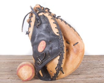 Old Vintage Leather Baseball Glove / Rawlings Catchers Mitt Baseball Glove / Antique Baseball Glove / Old Glove Antique Mitt /Baseball Decor