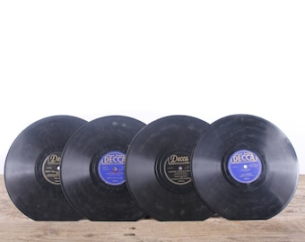 4 Vintage 78 Records / Blue Vinyl Records / Antique Vinyl Records Decorations / Old Records / Decca Records / Retro Music Party Decor