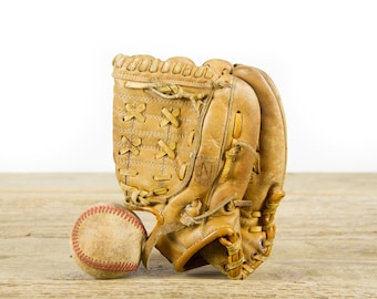 Vintage Nesco Youth Pro Player Leather Baseball Glove / Antique Leather Baseball Glove / Antique Baseball Room Decor / Old Glove