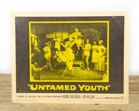 """Untamed Youth Original starting Lori Nelson Movie Lobby Card from 1957 - Original 11""""x14"""" Lobby Card - Movie Theater Room Decor Collectible"""