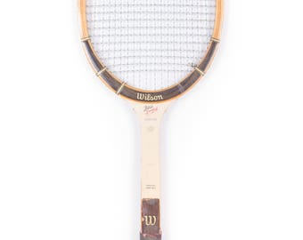 Vintage Wooden Tennis Racquet / Brown Wilson Butch Buchholz Tennis Racket / Antique Wood Tennis Racket Antique Tennis Racket Sports Decor