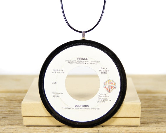 Vintage Handmade Prince Delirious Vinyl Record Necklace from 1984 / Music Rock and Roll Record / Women's Necklace Gift / Men's Necklace
