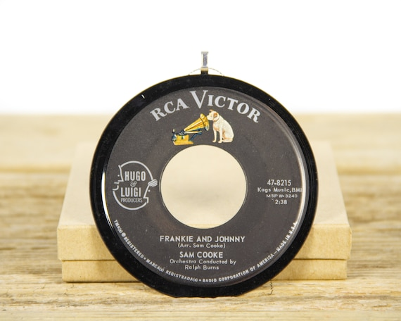 """Vintage Sam Cooke """"Frankie And Johnny"""" Record Christmas Ornament from 1963 / Holiday Decor / Music Gift Present / Funk, Soul, Blues"""