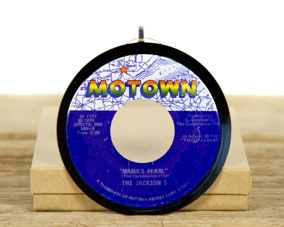 """Vintage The Jackson 5 """"Mama's Pearl"""" Record Christmas Ornament from 1970 / Vintage Holiday Decor / Funk, Soul"""