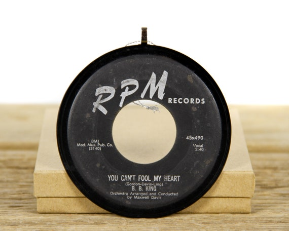 """Vintage B. B. King """"You Can't Fool My Heart"""" Record Christmas Ornament from 1957 / Vintage Holiday Decor / Blues, Soul, R&B, Rock"""