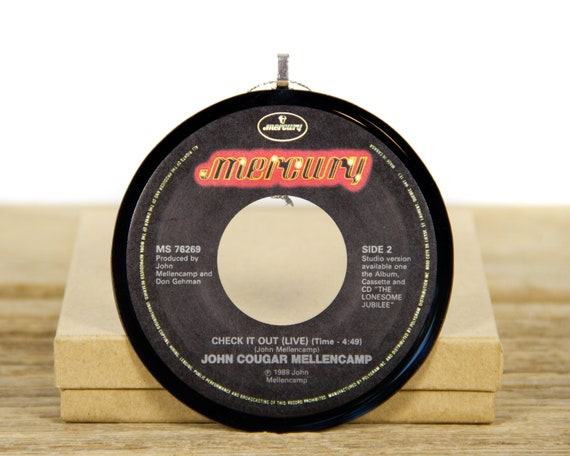 """Vintage John Cougar Mellencamp """"Check It Out"""" Record Christmas Ornament from 1988 / Vintage Holiday Decor / Rock, Pop"""