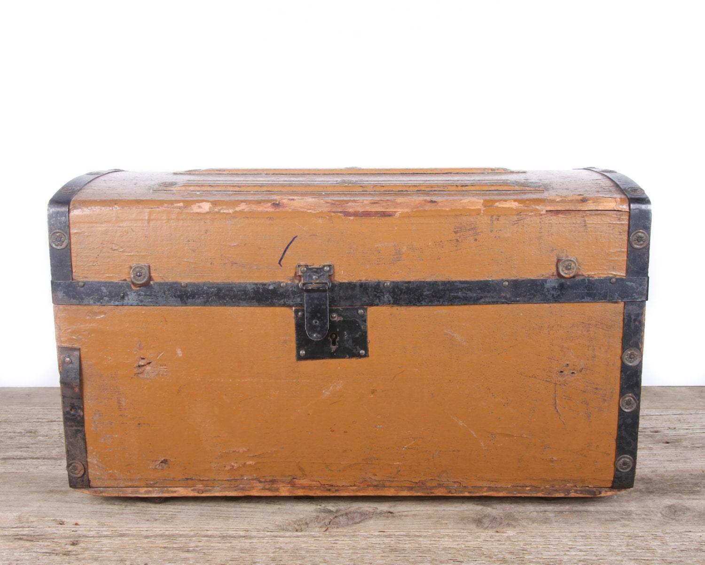 Antique Childrens Wooden Humpback Trunk Camelback Steamer