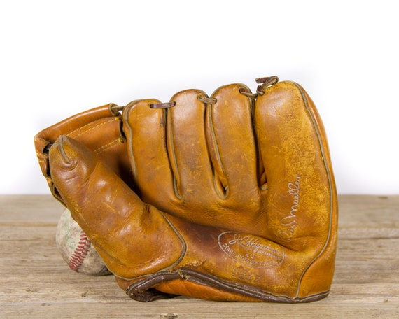 Antique Leather Don Mueller JC Higgins Model 1644 Baseball Glove Mitt Baseball Glove / Vintage Leather Baseball Glove / Baseball Room Decor