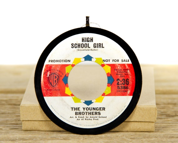 """Vintage The Younger Brothers """"High School Girl"""" Record Christmas Ornament from 1963 / Music Gift / Vintage Ornament / Pop"""