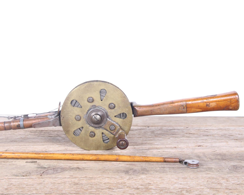 Antique Wooden Fishing Rod Copper Reel Mathews Conveyer Co