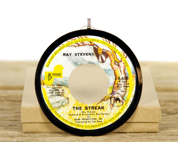 """Vintage Ray Stevens """"The Streak"""" Record Christmas Ornament from 1974 / Vintage Holiday Decor / Music Gift / Pop, Rock, Novelty"""