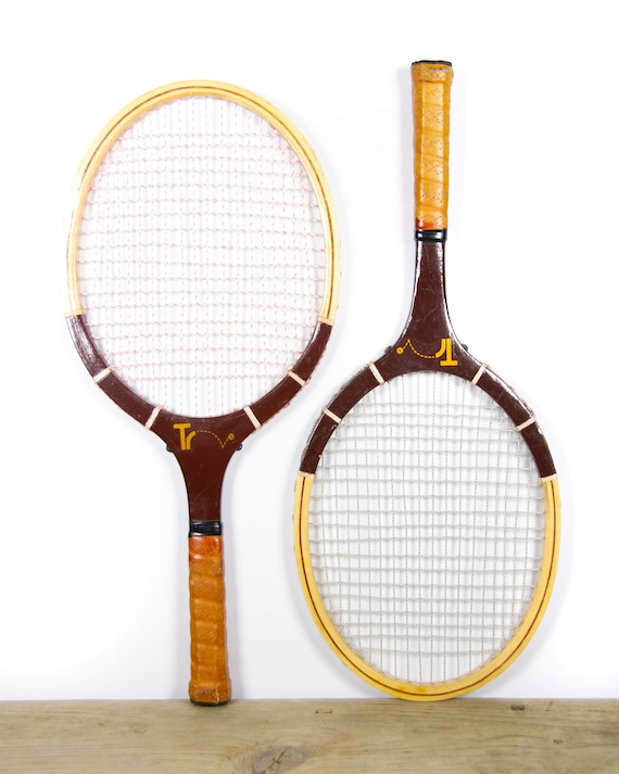 Vintage Pair of TR Racquetball Racquets / Antique Wood Racquetball Rackets / Tennis Sports Decor